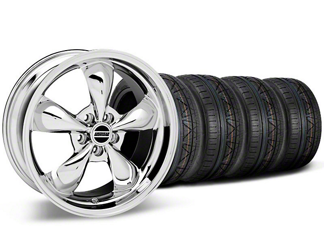 Staggered Bullitt Chrome Wheel and NITTO INVO Tire Kit; 19x8.5/10 (05-14 Standard GT, V6)