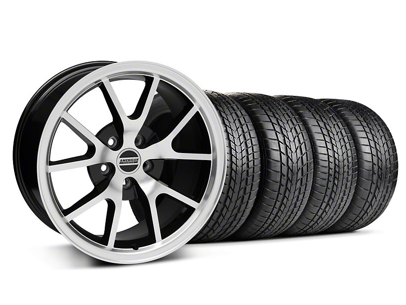 Staggered FR500 Style Black Machined Wheel and Sumitomo Tire Kit; 17x9/10.5 (99-04 All)