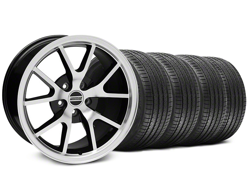 FR500 Style Black Machined Wheel and Sumitomo Maximum Performance HTR Z5 Tire Kit; 17x9 (94-98 All)