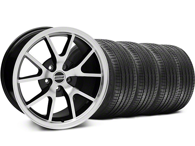 FR500 Style Black Machined Wheel and Sumitomo Maximum Performance HTR Z5 Tire Kit; 18x9 (05-14 All)