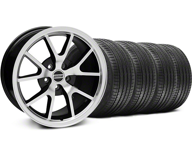 Staggered FR500 Style Black Machined Wheel and Sumitomo Maximum Performance HTR Z5 Tire Kit; 18x9/10 (99-04 All)