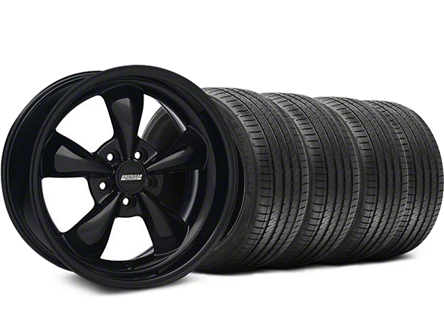 Bullitt Solid Gloss Black Wheel and Sumitomo Maximum Performance HTR Z5 Tire Kit; 18x9 (05-10 GT; 05-14 V6)