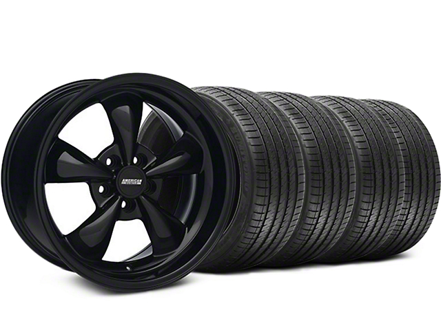 Staggered Bullitt Solid Gloss Black Wheel & Sumitomo Maximum Performance HTR Z5 Tire Kit - 18x9/10 (05-10 GT; 05-14 V6)