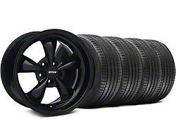 Staggered Bullitt Solid Gloss Black Wheel and Sumitomo Maximum Performance HTR Z5 Tire Kit; 18x9/10 (05-10 GT; 05-14 V6)