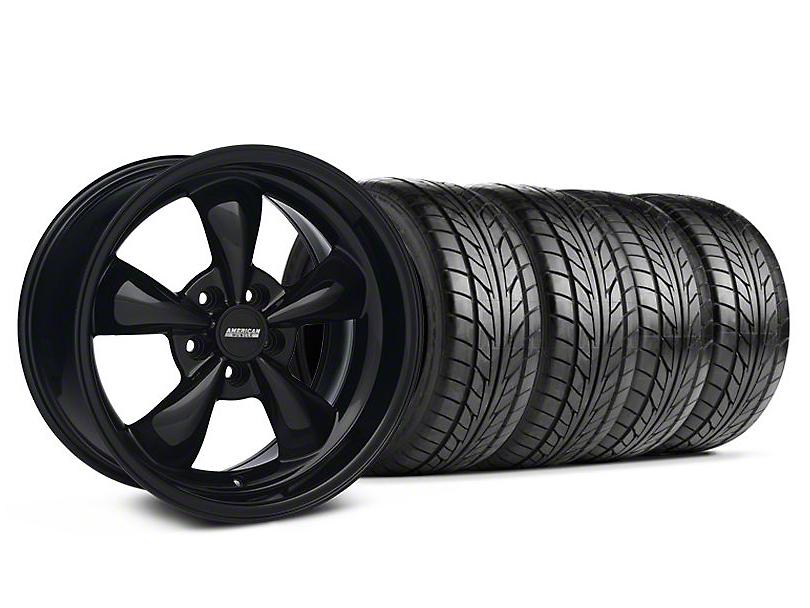 Staggered Bullitt Solid Black Wheel & NITTO Tire Kit - 18x9/10 (94-98 All)