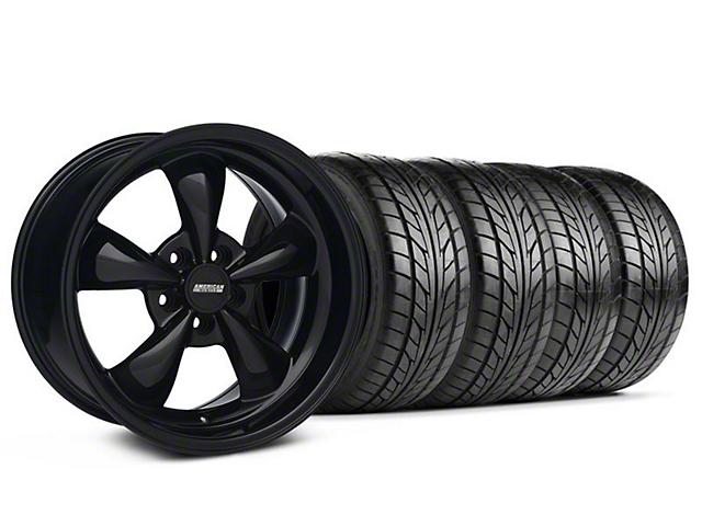 Staggered Bullitt Solid Black Wheel & NITTO Tire Kit; 18x9/10 (94-98 All)