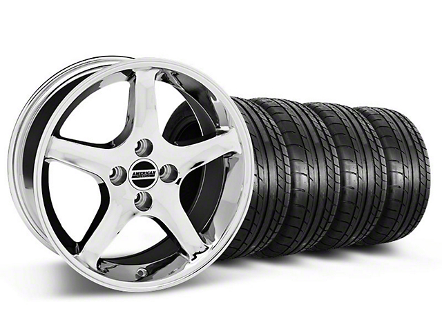 1995 Cobra R Style Chrome Wheel and Mickey Thompson Tire Kit; 17x8 (87-93 All, Excluding Cobra)