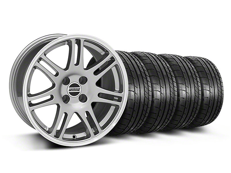 10th Anniversary Cobra Style Anthracite Wheel and Mickey Thompson Tire Kit; 17x9 (87-93 All, Excluding Cobra)
