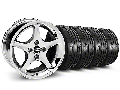 Staggered 1995 Cobra R Style Chrome Wheel & Mickey Thompson Tire Kit - 17x8/9 (87-93 All, Excluding Cobra)