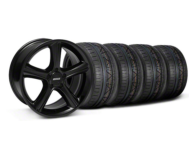 2010 GT Premium Style Black Wheel and NITTO INVO Tire Kit; 18x9 (05-14 GT, V6)