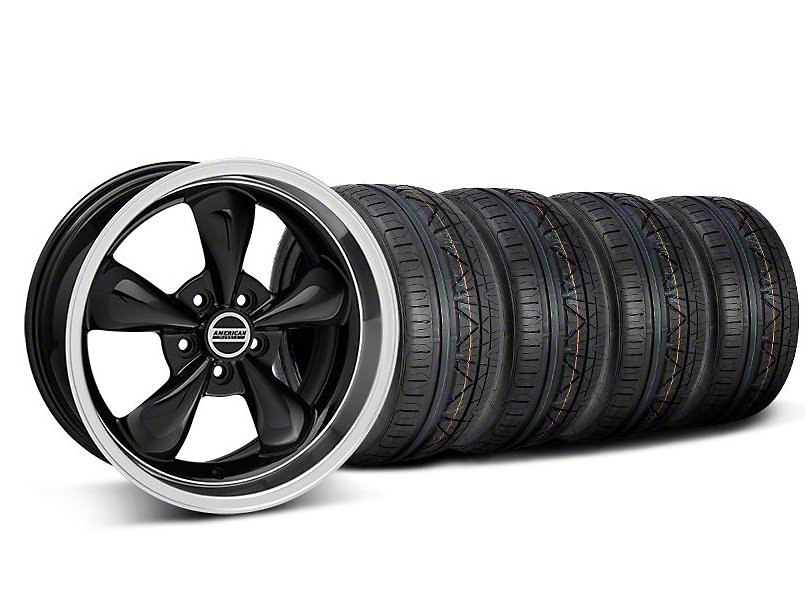 Deep Dish Bullitt Black Wheel and NITTO INVO Tire Kit; 18x9 (05-10 GT; 05-14 V6)