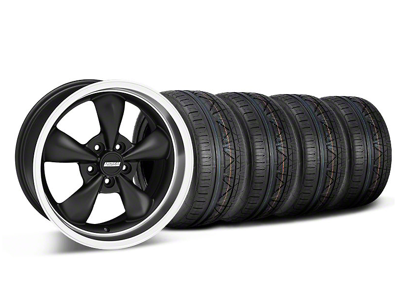 Bullitt Deep Dish Matte Black Wheel and NITTO INVO Tire Kit; 18x9 (05-10 GT; 05-14 V6)