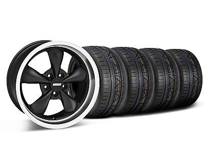 Bullitt Deep Dish Matte Black Wheel & NITTO INVO Tire Kit - 18x9 (05-10 GT; 05-14 V6)