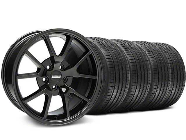 FR500 Style Solid Black Wheel and Sumitomo Maximum Performance HTR Z5 Tire Kit; 18x9 (05-14 All)