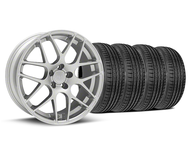 AMR Silver Wheel and Sumitomo Maximum Performance HTR Z5 Tire Kit; 19x8.5 (05-14 All)