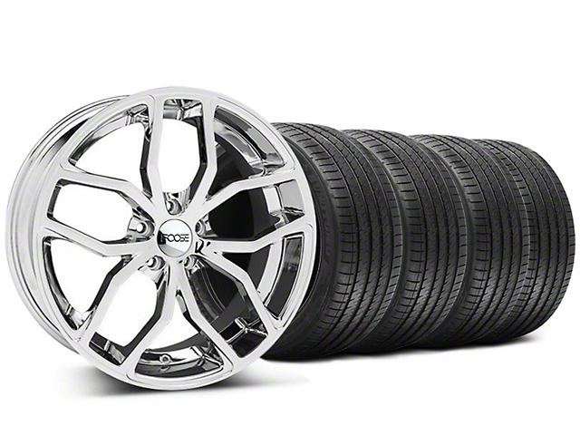 Foose Outcast Chrome Wheel and Sumitomo Maximum Performance HTR Z5 Tire Kit; 20x8.5 (05-14 All)