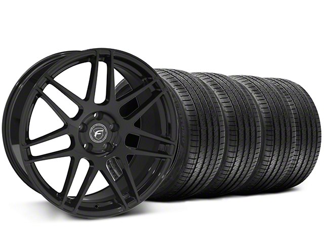 Forgestar F14 Monoblock Piano Black Wheel and Sumitomo Maximum Performance HTR Z5 Tire Kit; 20x9 (05-14 All)