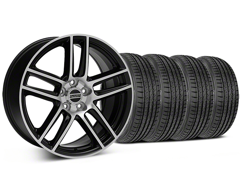 Laguna Seca Style Black Machined Wheel and Sumitomo Maximum Performance HTR Z5 Tire Kit; 19x9 (05-14 All)