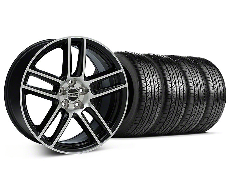 Laguna Seca Style Black Machined Wheel and Pirelli Tire Kit; 19x9 (05-14 All)