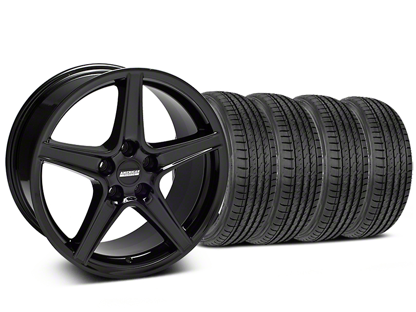 Saleen Style Black Wheel and Sumitomo Maximum Performance HTR Z5 Tire Kit; 19x8.5 (05-14 GT, V6)