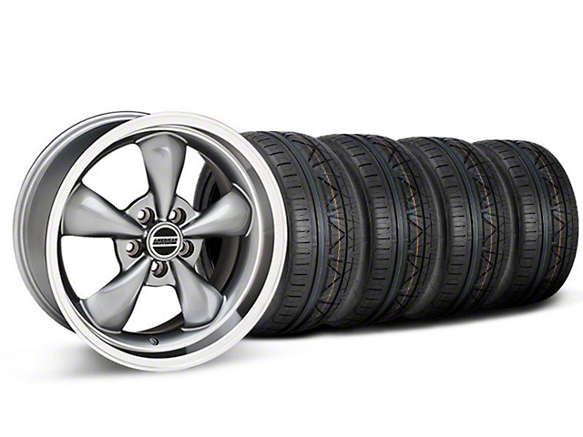 Staggered Deep Dish Bullitt Anthracite Wheel and NITTO INVO Tire Kit; 18x9/10 (05-10 GT; 05-14 V6)