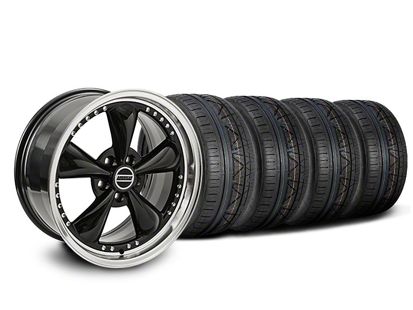 Staggered Bullitt Motorsport Black Wheel and NITTO INVO Tire Kit; 18x9/10 (05-14 Standard GT, V6)