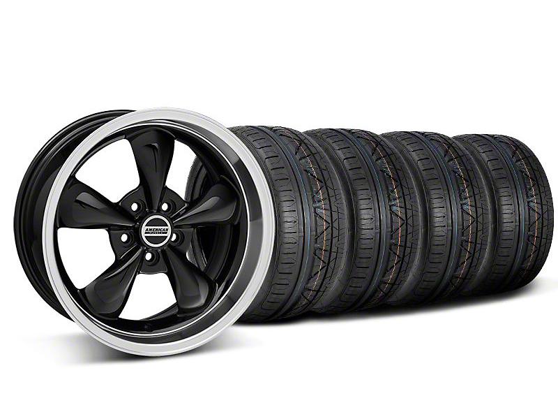 Staggered Deep Dish Bullitt Black Wheel & NITTO INVO Tire Kit - 18x9/10 (05-10 GT; 05-14 V6)