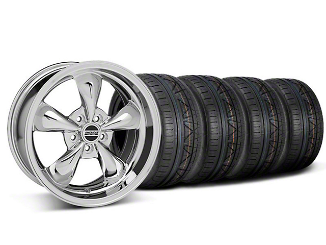 Staggered Deep Dish Bullitt Chrome Wheel and NITTO INVO Tire Kit; 18x9/10 (05-10 GT; 05-14 V6)