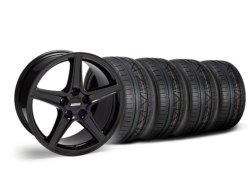 Staggered Saleen Style Black Wheel and NITTO INVO Tire Kit; 18x9/10 (05-14 GT, V6)