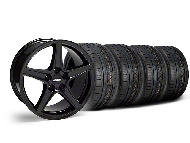 Staggered Saleen Style Black Wheel & NITTO INVO Tire Kit - 18x9/10 (05-14 GT, V6)