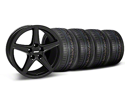 Staggered Saleen Style Matte Black Wheel & NITTO INVO Tire Kit - 18x9/10 (05-14 GT, V6)