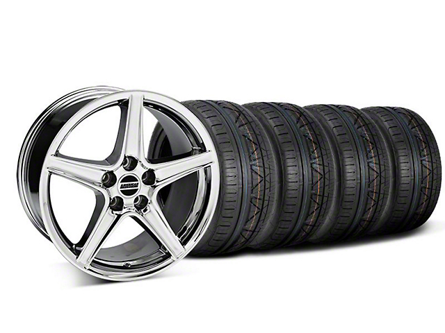 Staggered Saleen Style Chrome Wheel & NITTO INVO Tire Kit - 18x9/10 (05-14 All, Excluding GT500)