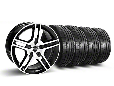Staggered 2010 GT500 Style Black Machined Wheel & Mickey Thompson Tire Kit - 18x9/10 (05-14 All)