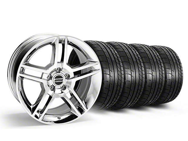 Staggered 2010 GT500 Style Chrome Wheel and Mickey Thompson Tire Kit; 18x9/10 (05-14 All)
