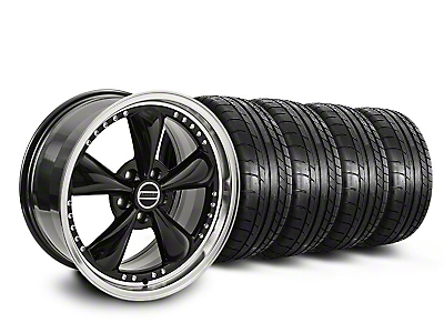 Staggered Bullitt Motorsport Black Wheel & Mickey Thompson Tire Kit - 18x9/10 (05-14 Standard GT, V6)
