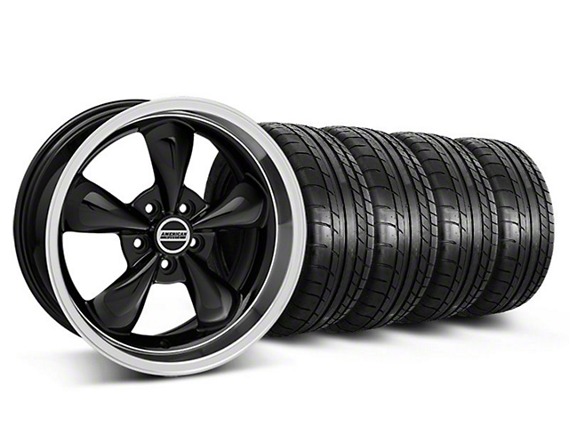 Staggered Deep Dish Bullitt Black Wheel and Mickey Thompson Tire Kit; 18x9/10 (05-10 GT; 05-14 V6)