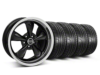 Staggered Deep Dish Bullitt Black Wheel & Mickey Thompson Tire Kit - 18x9/10 (05-10 GT; 05-14 V6)