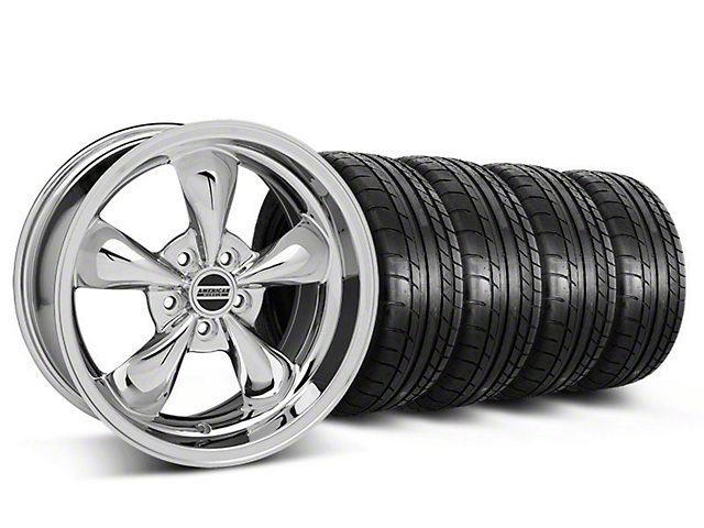 Staggered Deep Dish Bullitt Chrome Wheel and Mickey Thompson Tire Kit; 18x9/10 (05-10 GT; 05-14 V6)