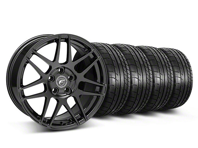 Staggered Forgestar F14 Monoblock Gloss Black Wheel & Mickey Thompson Tire Kit - 18x9/10 (05-14 All)