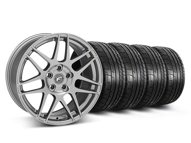 Staggered Forgestar F14 Monoblock Gunmetal Wheel & Mickey Thompson Tire Kit - 18x9/10 (05-14 All)