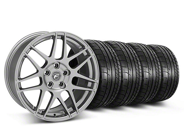 Staggered Forgestar F14 Monoblock Gunmetal Wheel & Mickey Thompson Tire Kit; 18x9/10 (05-14 All)