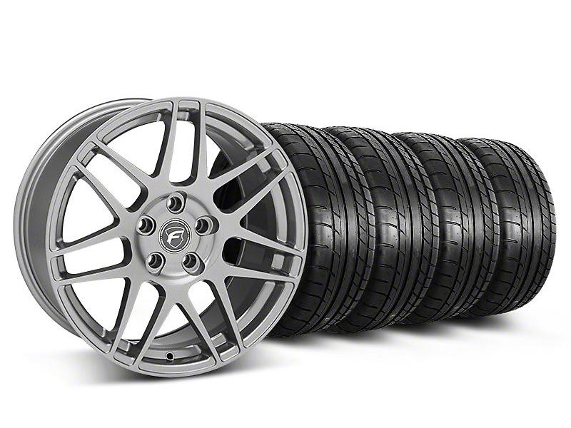 Staggered Forgestar F14 Monoblock Gunmetal Wheel & Mickey Thompson Tire Kit - 18x9/10 (05-14 All)