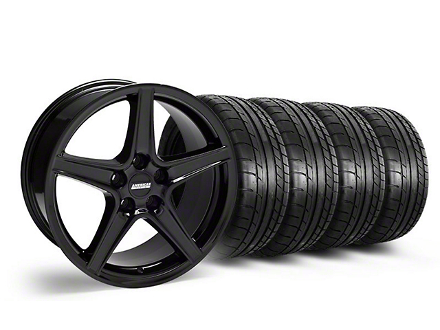 Staggered Saleen Style Black Wheel and Mickey Thompson Tire Kit; 18x9/10 (05-14 GT, V6)