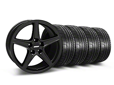 Staggered Saleen Style Matte Black Wheel & Mickey Thompson Tire Kit - 18x9/10 (05-14 GT, V6)