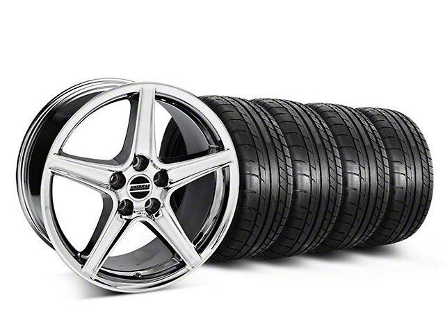 Staggered Saleen Style Chrome Wheel and Mickey Thompson Tire Kit; 18x9/10 (05-14 All, Excluding GT500)