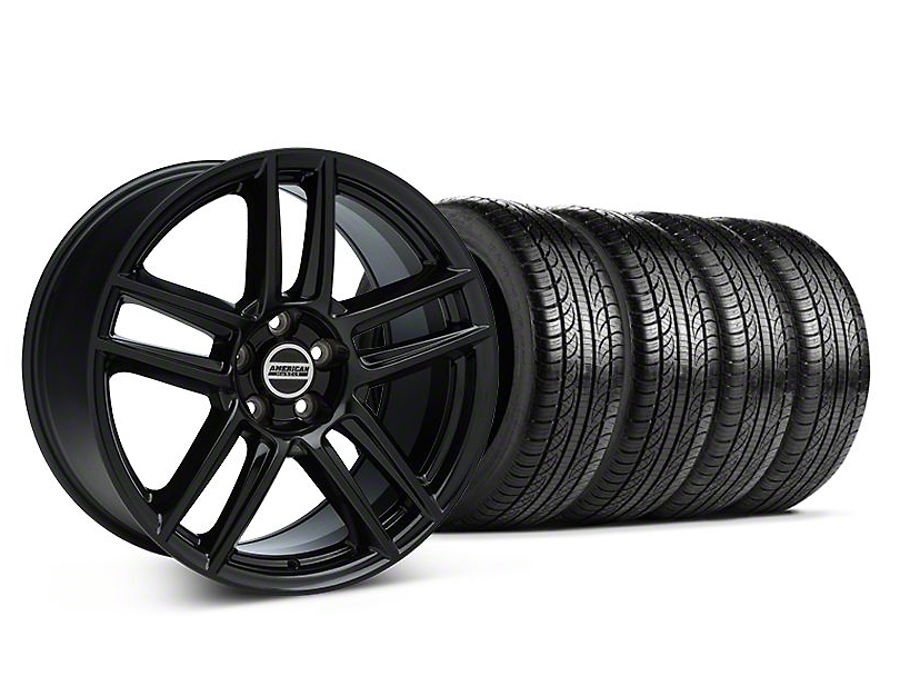 Staggered Laguna Seca Style Black Wheel & Pirelli Tire Kit - 19x9/10 (05-14 All)