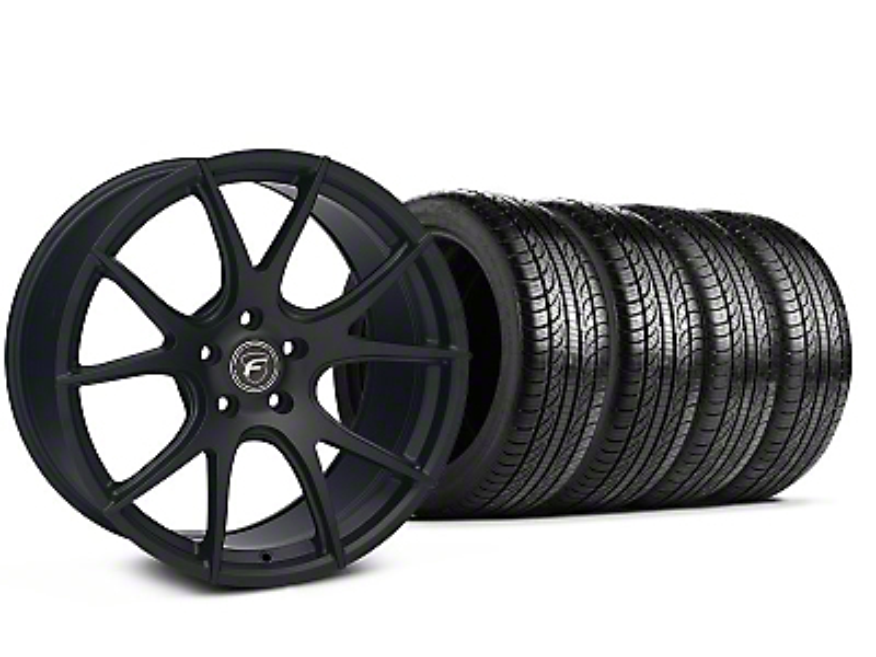 Staggered Forgestar CF5V Monoblock Matte Black Wheel & Pirelli Tire Kit - 19x9/10 (05-14 All)