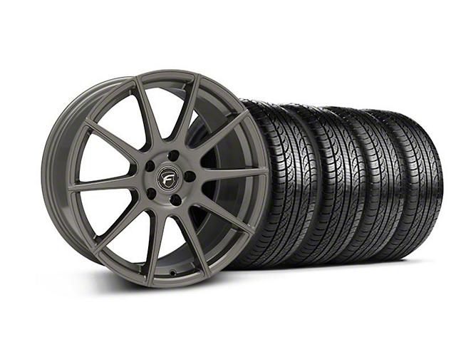 Staggered Forgestar CF10 Monoblock Gunmetal Wheel & Pirelli Tire Kit - 19x9/10 (05-14 All)