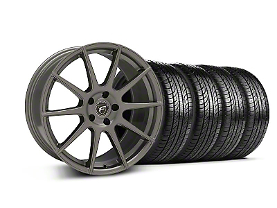 Staggered Forgestar CF10 Monoblock Gunmetal Wheel & Pirelli Tire Kit - 19x9/10 (05-14 All)