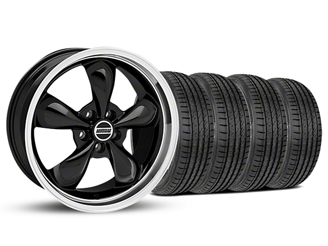 Staggered Bullitt Black Wheel and Sumitomo Maximum Performance HTR Z5 Tire Kit; 19x8.5/10 (05-14 Standard GT, V6)